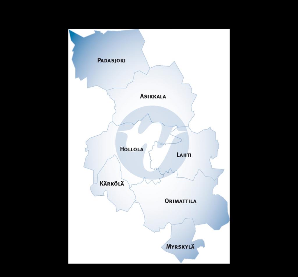 Kartta Wellamo-opiston toimialueesta